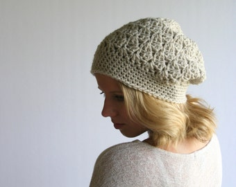 Beanie Slouchy Hat Crochet Slouchy Style Hat Textured HDC Linen or Choose Your Color