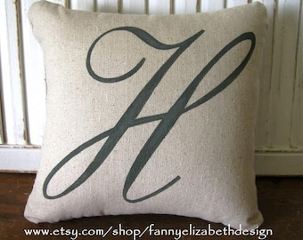 "Sm. Burlap or Cotton Initial Pillow FREE SHIPPING 10""x 10""- Decorative Pillow-Initial Pillow-Accent Pillow- Letter Pillow- Monogram Pillow"