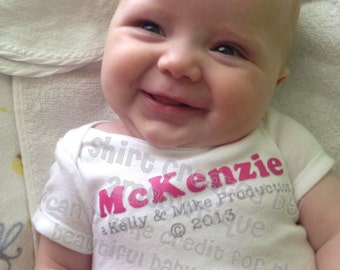 Gift Idea for New Baby / Baby Shower / Parents to Be. Personalized Parent Production Onesie