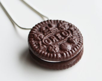 Oreo Biscuit Necklace, Polymer Clay, Fimo
