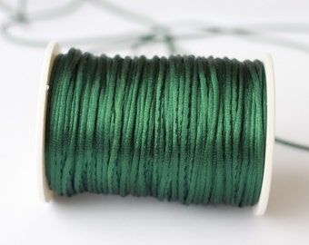 emerald green Rattail Cord, Knotting cord, 2.5 mm  Satin cord, Beading cord, Jewelery supplies, cord for bracelet , 10 meters ( 11 yards )