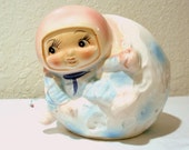 Vintage Inarco Ceramic Baby Nursery Planter Man On The Moon Astronaut 1960's Space GIrl Pink Stars