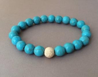 Gold Ball Turquoise Stone Layer Beaded Bracelet
