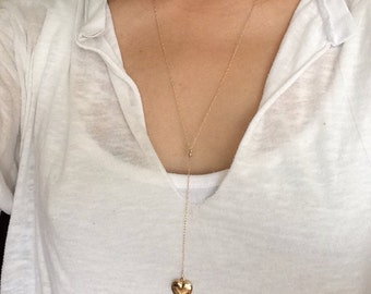 Gold Y Lariat Drop Heart Locket Necklace also in Silver