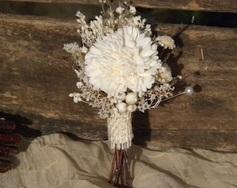 Rustic Woodland Twig Sola Flower Dried Flowers Boutonniere