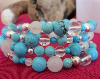 Turquoise Gemstone Beads Wrap bracelet, cuff, bangle in handmade gift box.