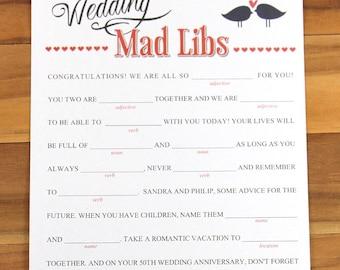 Mad Libs, Wedding Mad Libs, Mad Libs Game, Wedding Accessory