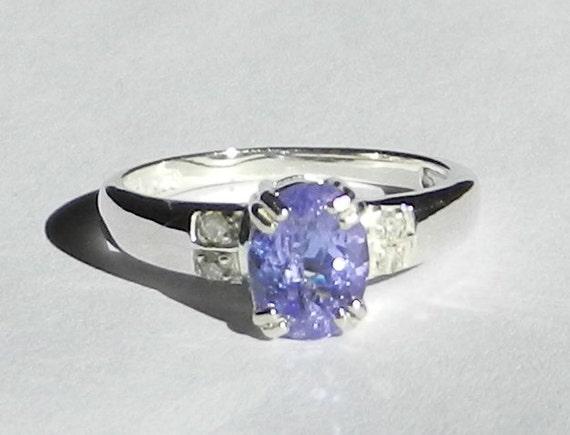 Natural 1.35 Carat Tanzanite & Diamond Ring Solid 925 Sterling Silver