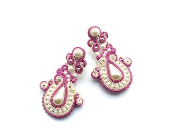 Soutache wedding earrings, delicate and perfect for the bride - Happy Drops