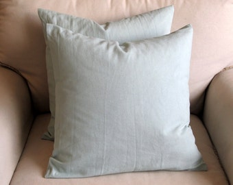 20 inch square spa blue cotton duck pillow covers