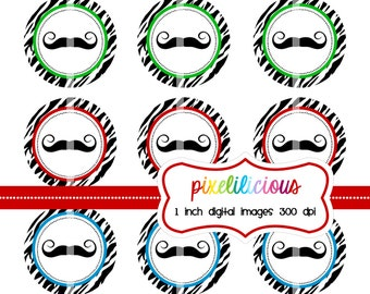 "Bottle Cap Image Sheet - Instant Download - Love the ""Stache -  1 Inch Digital Collage - Buy 2 Get 1 Free"