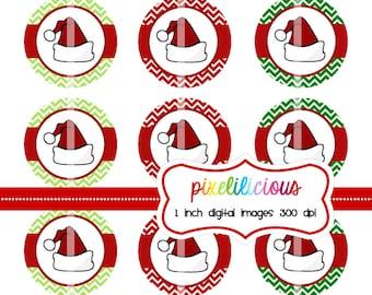 Bottle Cap Image Sheet - Instant Download - Chevron Santa Hats -  1 Inch Digital Collage - Buy 2 Get 1 Free