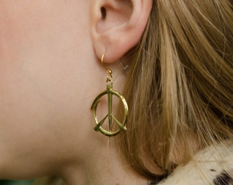 Adorable PEACE signs.  Brass and 14k gold, FREE Shipping, gift box. Hippie LOVE!!