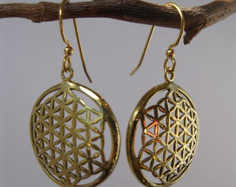 FLOWER OF LIFE fractal sacred geometry spiral earrings.  Free shipping and Gift box.