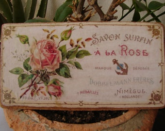 Shabby pink roses, vintage French savon a la rose, soap advertising label, small wooden sign