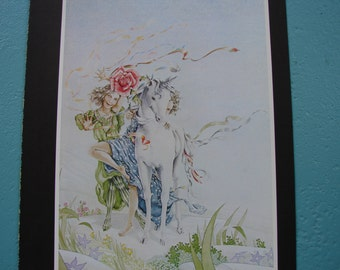 1978 vintage print-book plate-baby unicorn-children-floral mythical-ready to be framed