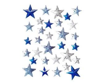 Blue And Crystal Star Rhinestone Gems