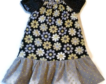 Girl Peasant Dress, Toddler Peasant Dress, Floral Girl Dress, Floral Toddler Dress, Little Girls Dress, Girls Floral Dress