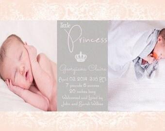 Digital Baby Birth Announcement, Custom Birth Announcement, Girl's Birth Announcement, Princess