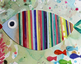 Colorful Fish Collage, mixed media, watercolor, stripes, bathroom art, beachy, water, Pisces, children's art