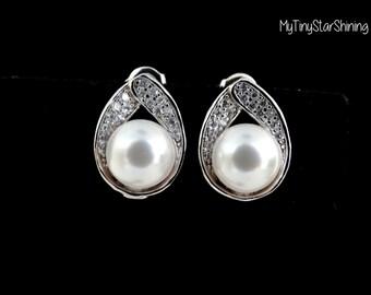 Wedding Earrings Cream Pearl earrings IVORY Pearl Earrings or WHITE Pearls Earrings CZ Post earrings sterling silver Bridesmaid gift