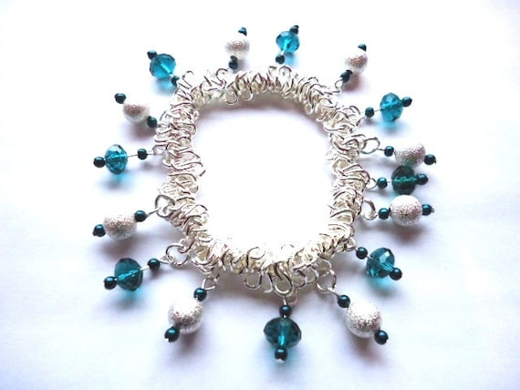 Bracelet Teal Green Glass and Silver Sparkle Bead  Elasticated Expanding by JulieDeeleyJewellery on Etsy