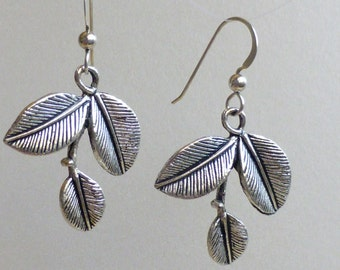 Rounded Leaf Earrings: Pewter Dangles on Sterling Earwires