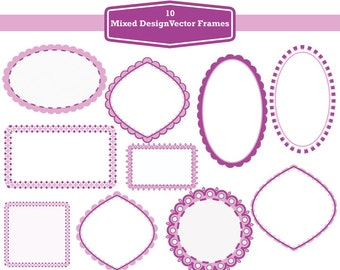 10 Digital Vector Frames Illustrations, mixed designs, pink and purple colour - instand download