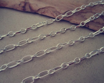 6.5ft (2m) Silver color necklace chain 3mmx6mm