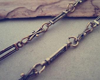 3.22ft  Fancy Antique Gold Metal Chain Necklace Chain
