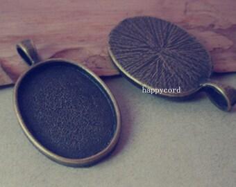 10pcs 18mmx25mm Antique Bronze Oval Pendant Base