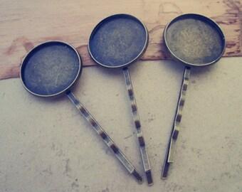 10pcs antique bronze  long hair clips/hair pin (tray 23mm)