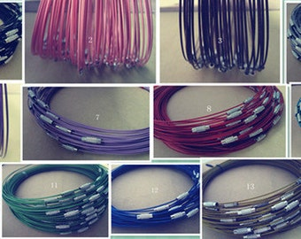 50pcs assorted color 1mm stainless steel wire 18inch