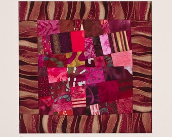 MERLOT: Art Quilt Signed by The Artist, Matted for Framing/FREE SHIPPING