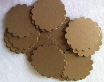 "1.5"" die cut scalloped paper circles - kraft - set of 100"