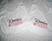 Twins - Baby Girl Twins Womb Mates Set of 2 bibs Gift Set - Baby Girl Twin Bibs - Pink and Brown - Twin Gift Set