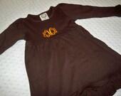 Monogrammed Fall Dress - Brown and Orange Halloween Thanksgiving Baby Toddler Dress  - Fall Thanksgiving Baby Girl Toddler Girl Thanksgiving
