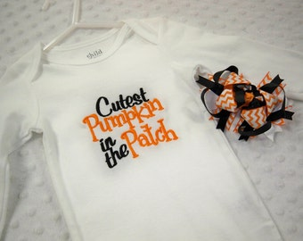 Halloween Baby Girl Outfit - Cutest Pumpkin in the Patch Bodysuit & Chevron Halloween Hair Bow - Baby's First Halloween Baby Girl Halloween
