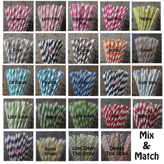 25 YOUR CHOICE Retro Vintage Striped Polka Dot Star Paper Straws