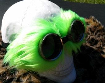 Neon Green fluff fur. Steampunk Goggles Air Pirate explorer Eyewear