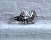 Vintage Platinum Infinity Band with Pave and Baguette Cut Diamonds - 1.08ct.