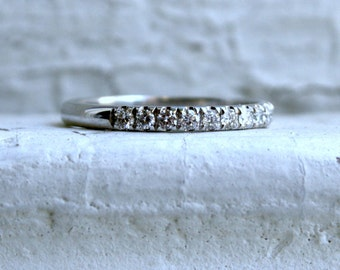 14K White Gold Diamond Wedding Band.