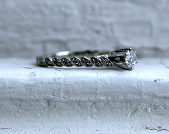 Thin Twisted Vintage 14K White Gold Diamond Engagement Ring - 0.62ct.