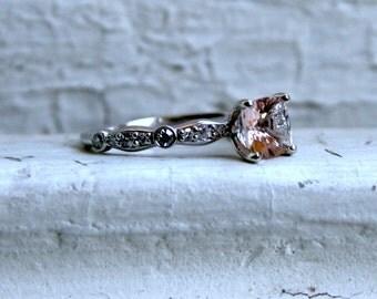 Morganite and Diamond Engagement Ring - 1.24ct.