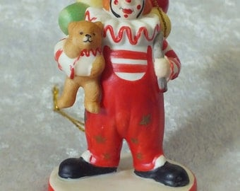 Circus Clown w/Teddy Bear and Balloons Ornament