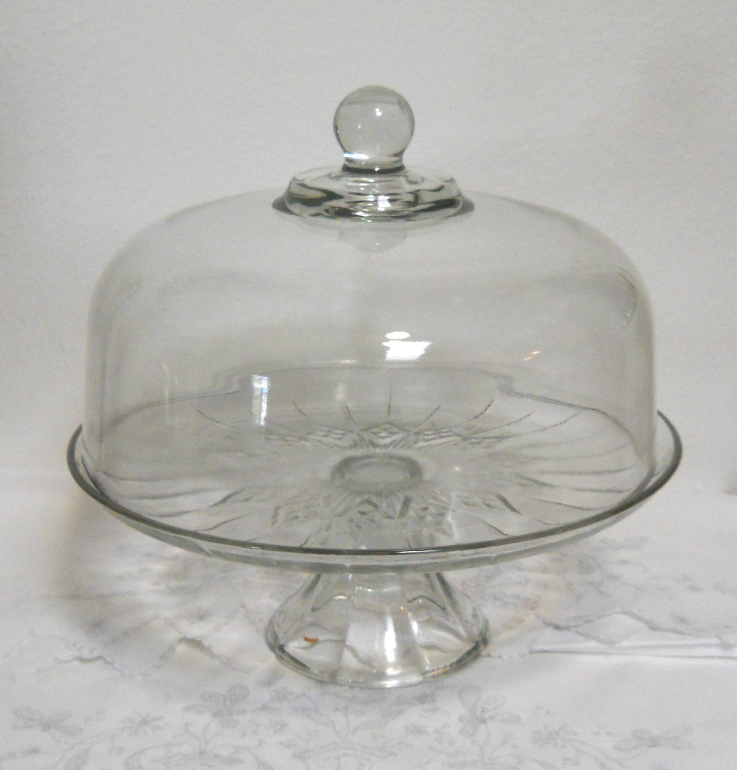 Clear Glass Covered Cake Stand
