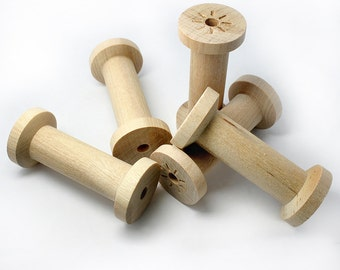 """Set of 5 Large Slender Wood Spools, 2 3/4"""" by 1 1/4"""", large spools for ribbon, made in USA"""