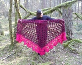 Crochet Shawl, Handmade Triangle Shawl,Merino Wool, Mohair Shawl,Gift for Her, Mothers Day Gift, Wrap,Shawl Coat,Blanket, Pink and Black
