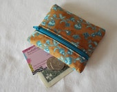 Coin Purse, Zipper Pouch, Change Purse, Wallet, brown, tan, flowers, turquoise