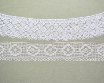 Antique wide torchon lace, lot of 2 pieces of early 1900's lace